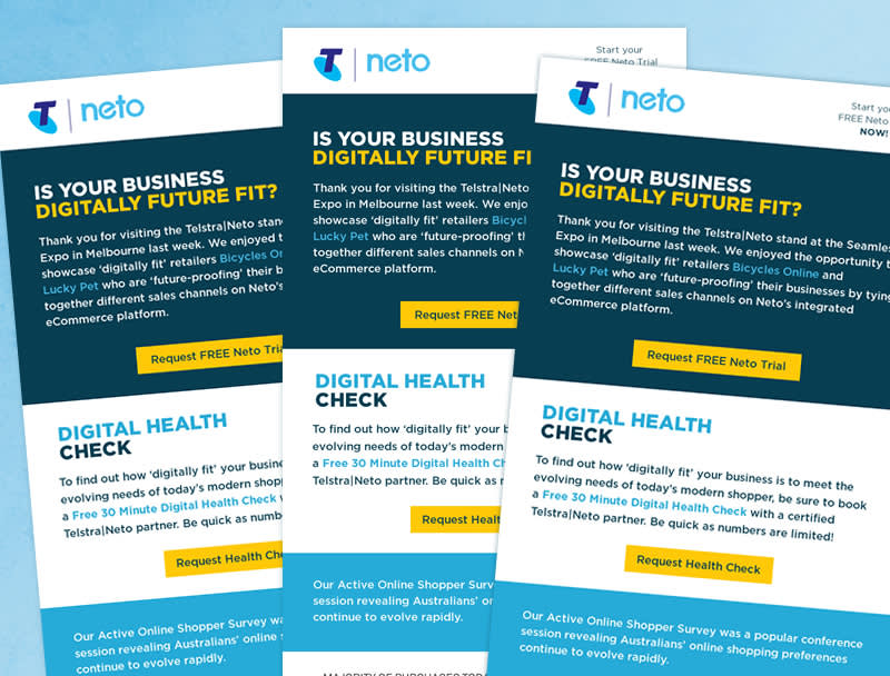 Three identical HTML layouts split into 3 parts horizontally. Each part has a different background color. From top down: Navy, White then light blue. Each section has text in various font sizes and colors with a hyperlink button and CTAs. Logo at the top.