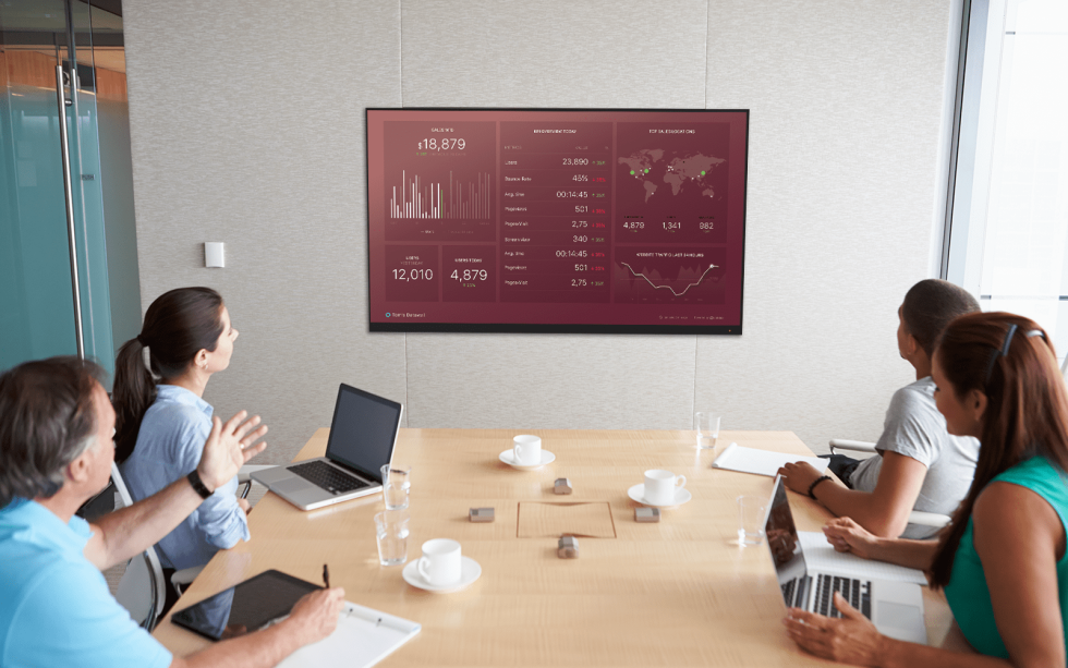 Image of people at a table looking at a screen with different charts on it