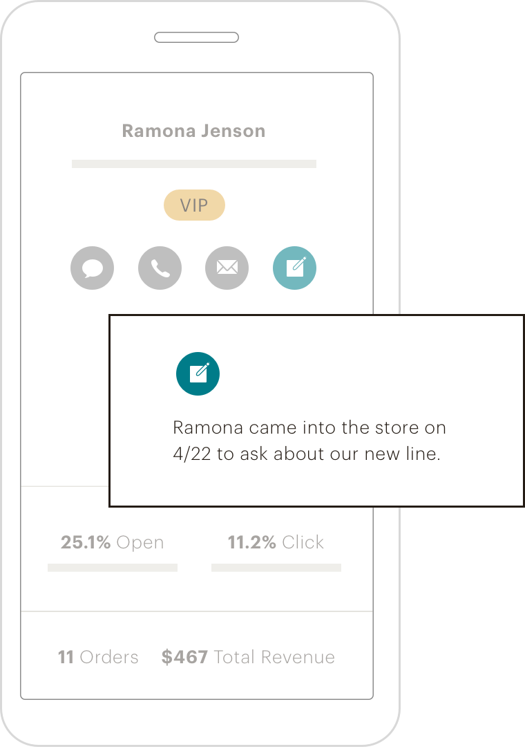 "A mobile phone displaying a notification that says, ""Ramona came into the store on 4/22 to ask about our new line."""