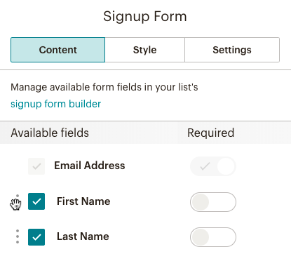 use signup form content blocks