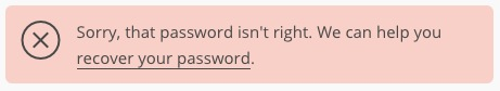 That password isn't right error message