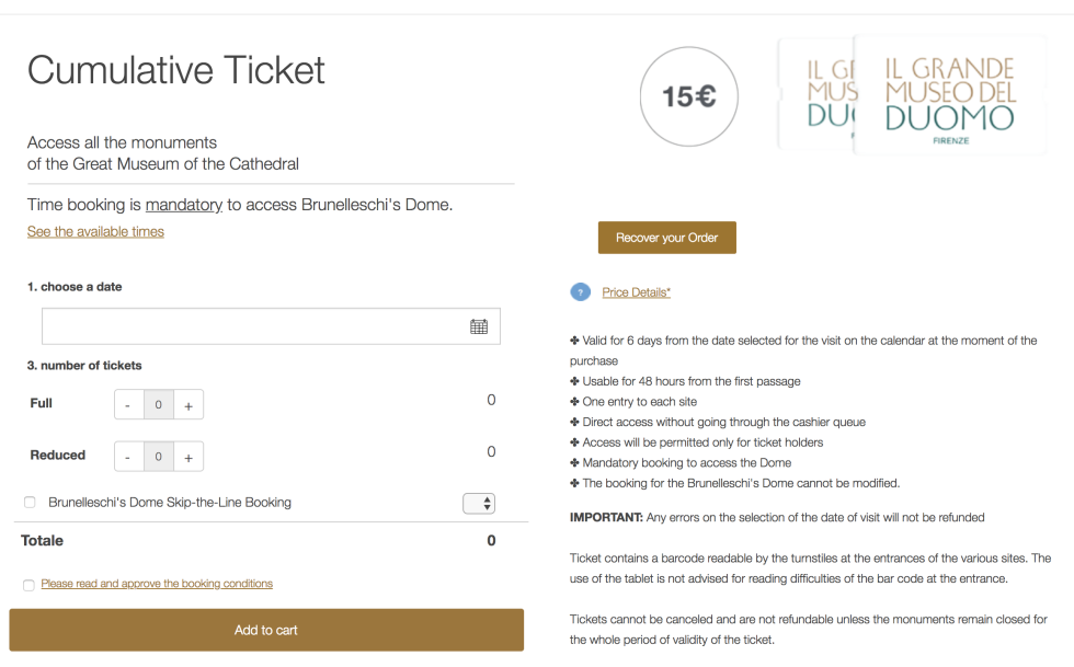 Screenshot of e-commerce store for tickets.