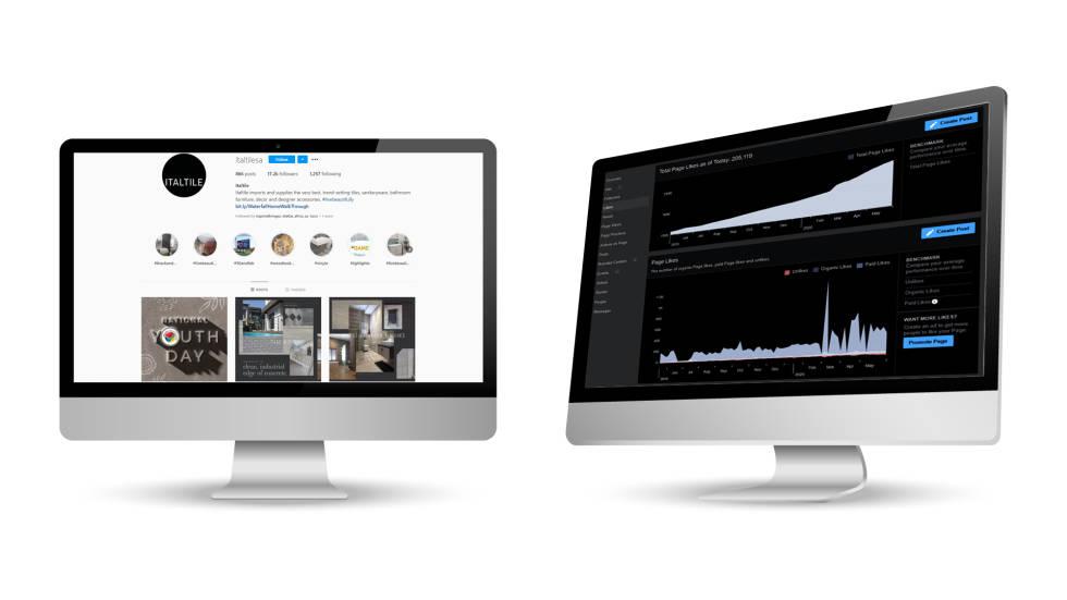Image of 2 desktop screens with Instagram analytics displayed