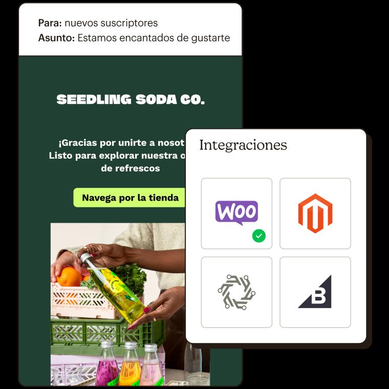 Ejemplo de automatización de un correo electrónico enviado a los nuevos suscriptores, junto con 4 posibles integraciones de e-commerce.