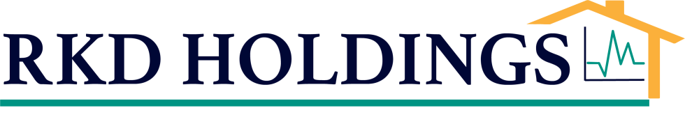 image of logo featuring text that says RKD Holdings in navy blue font and underlined. The words end into an image with a house and graph inside it.