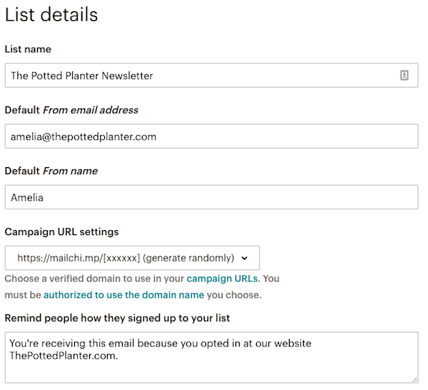create your mailchimp list