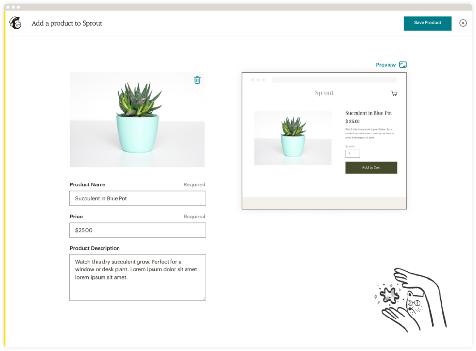 An example of adding products to your website in Mailchimp