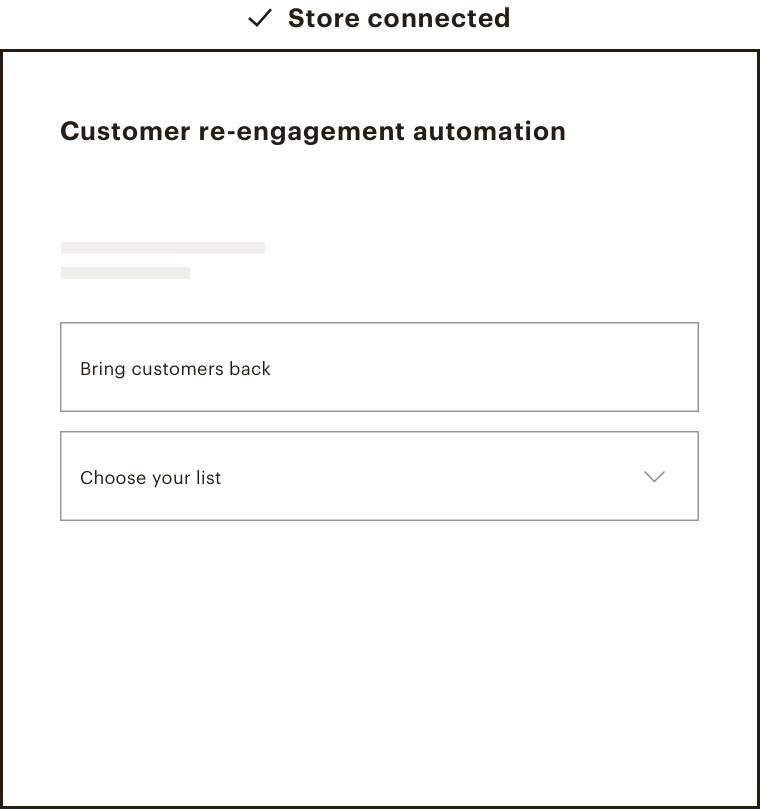 The template for selecting the details of a customer re-engagement automation.
