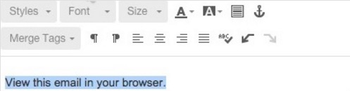 """Resaltado del enlace """"Ver este correo electrónico en el navegador"""""""
