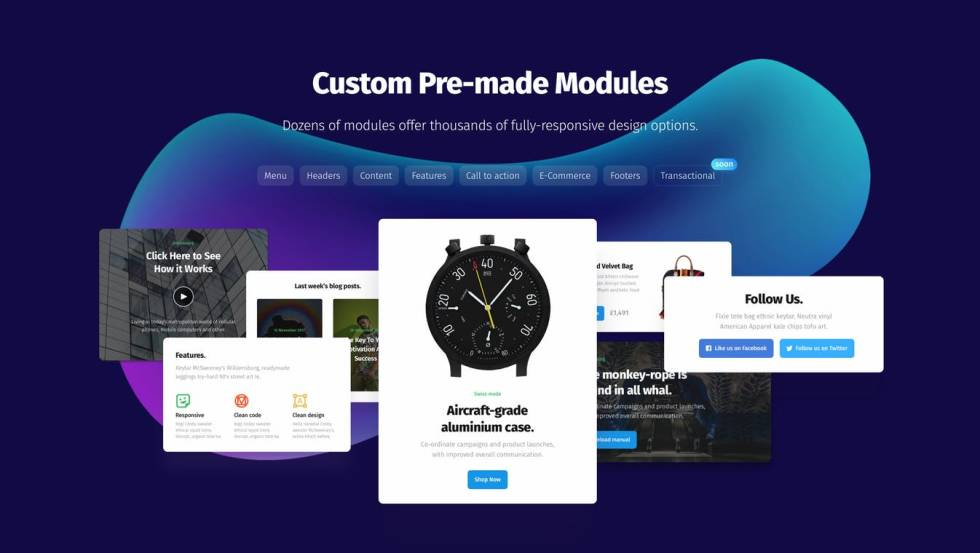 """Image of different websites with headline """"Custom Pre-made Modules"""""""