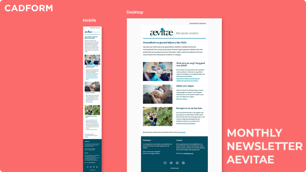 Image of a monthly newsletter for Aevitae with photos of a nurse, woman laying down, and a woman gardening.