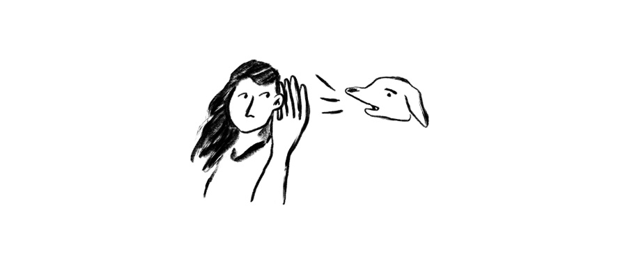Doodle of a person holding up their hand to their ear to listen to a dog barking.