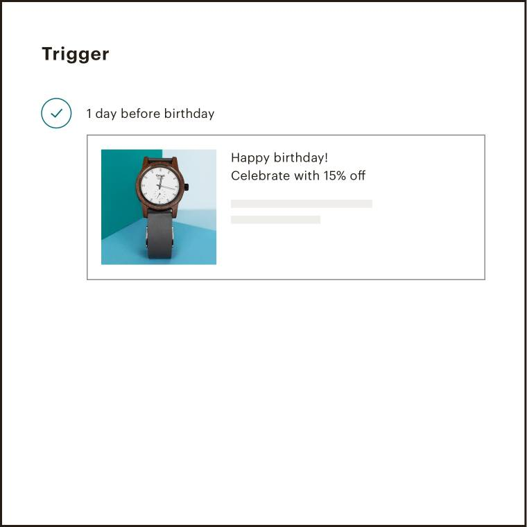The step in which users select when the date-based automation will send, for example 1 day before a user's birthday.