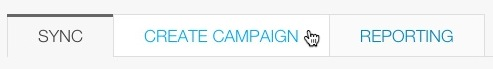 Screen of Sync, Create Campaign, and Reporting tabs, with cursor clicking the Create Campaign option.