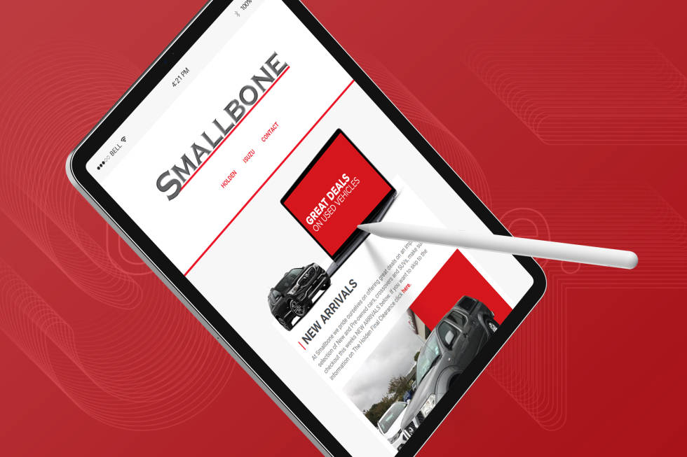 Image of an iPad with mobile site for Smallbone