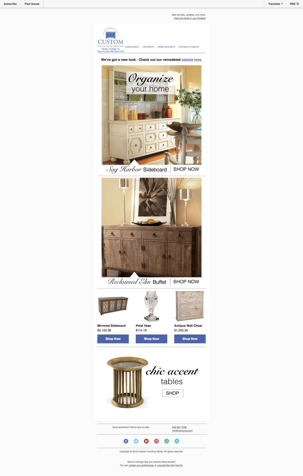 Custom email template for a home furniture shop