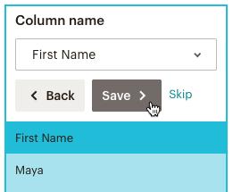 importation-correspondance colonnes-first name (prénom)