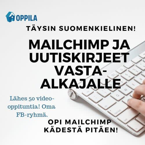 Cropped picture of a hand on apple keyboard on right side of image against white and grey background. Oppila Oy logo in top left corner. Centered, black, and capitalized text consisting of five lines in center of image overlays picture. Bottom left corner is lower-case text in blue. At bottom of image black, centered and capitalized text again in smaller font than lines above.