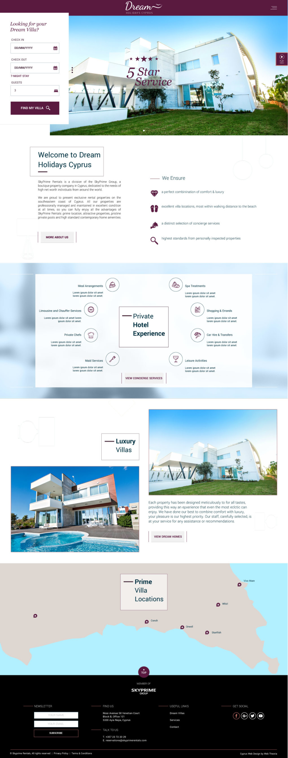 Email template screenshot for luxury hotel company. Template includes many photographs and graphics which explains the hotel experience. A map at the bottom is included which specifies the exact location of the hotel.