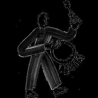 Bacon man carrying keys