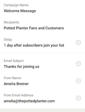 android welcome email campaign details