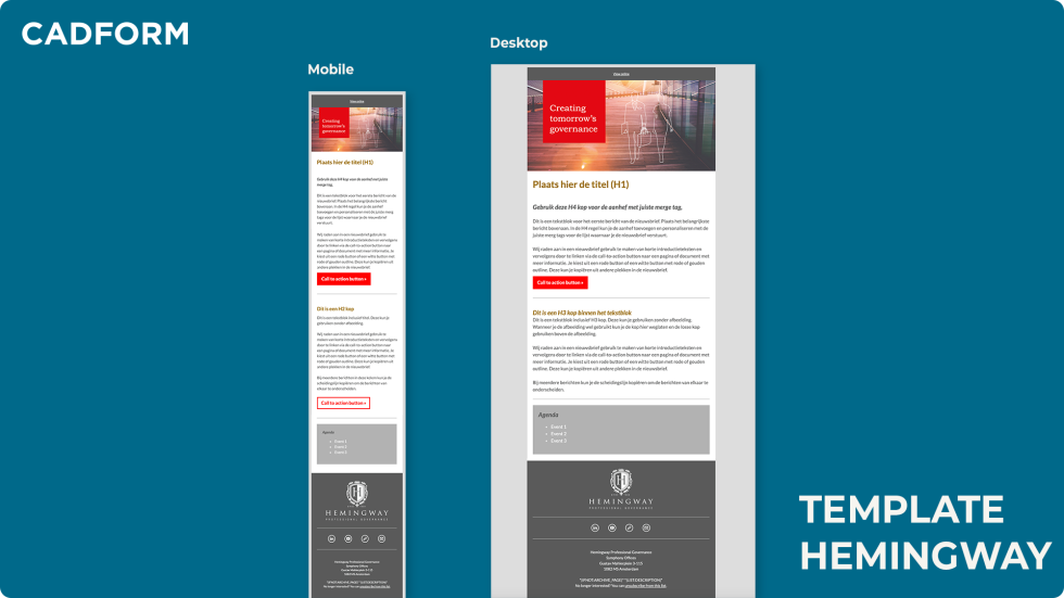 """Image of an email template that says """"Creating tomorrow's governance"""" with a sunset design."""