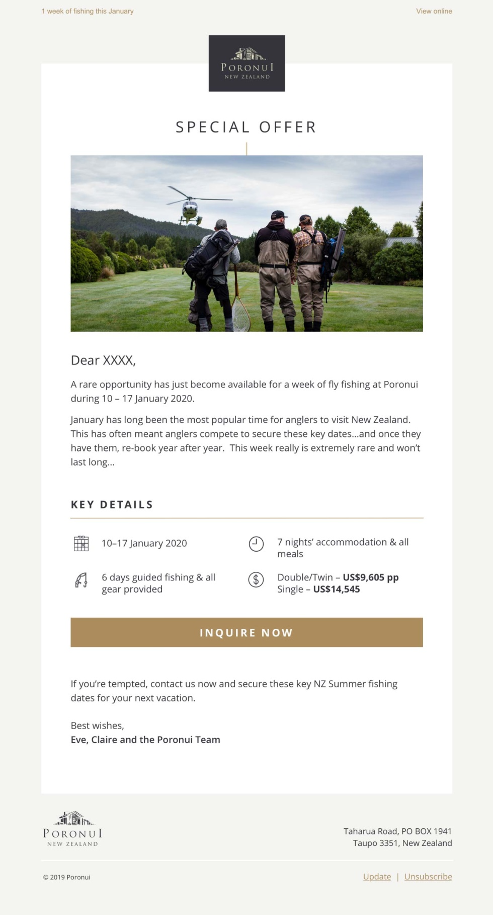 An email template design for Poronui