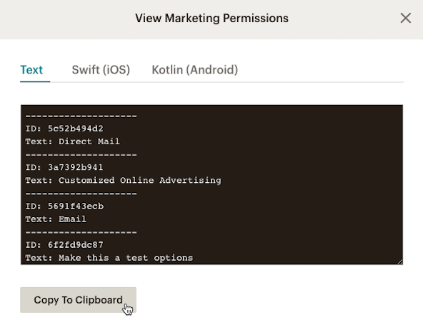 Cursor Clicks - Copy to Clipboard - SDK Marketing Permissions