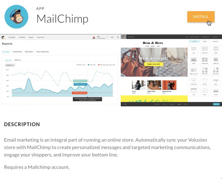 Install Mailchimp for Volusion - cursor click - app modal