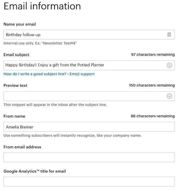 automation email form