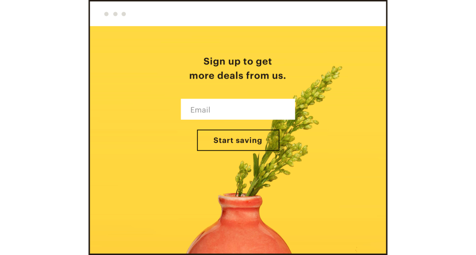 "Landing page that says ""Sign up to get more deals from us."""