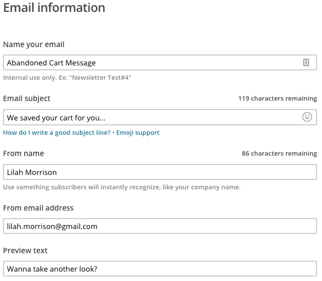 Email information and details on setup step