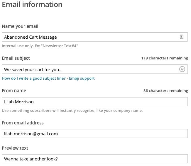 Información y detalles de un correo electrónico en el paso Setup (Configuración)