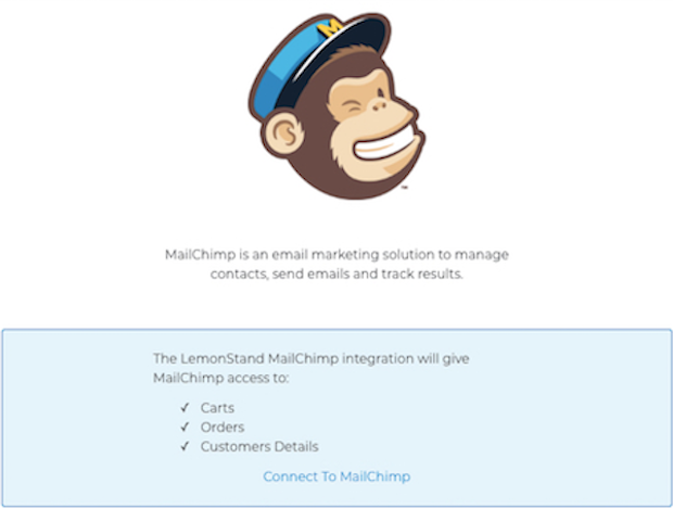 Mailchimp for LemonStand - connect to mailchimp screen