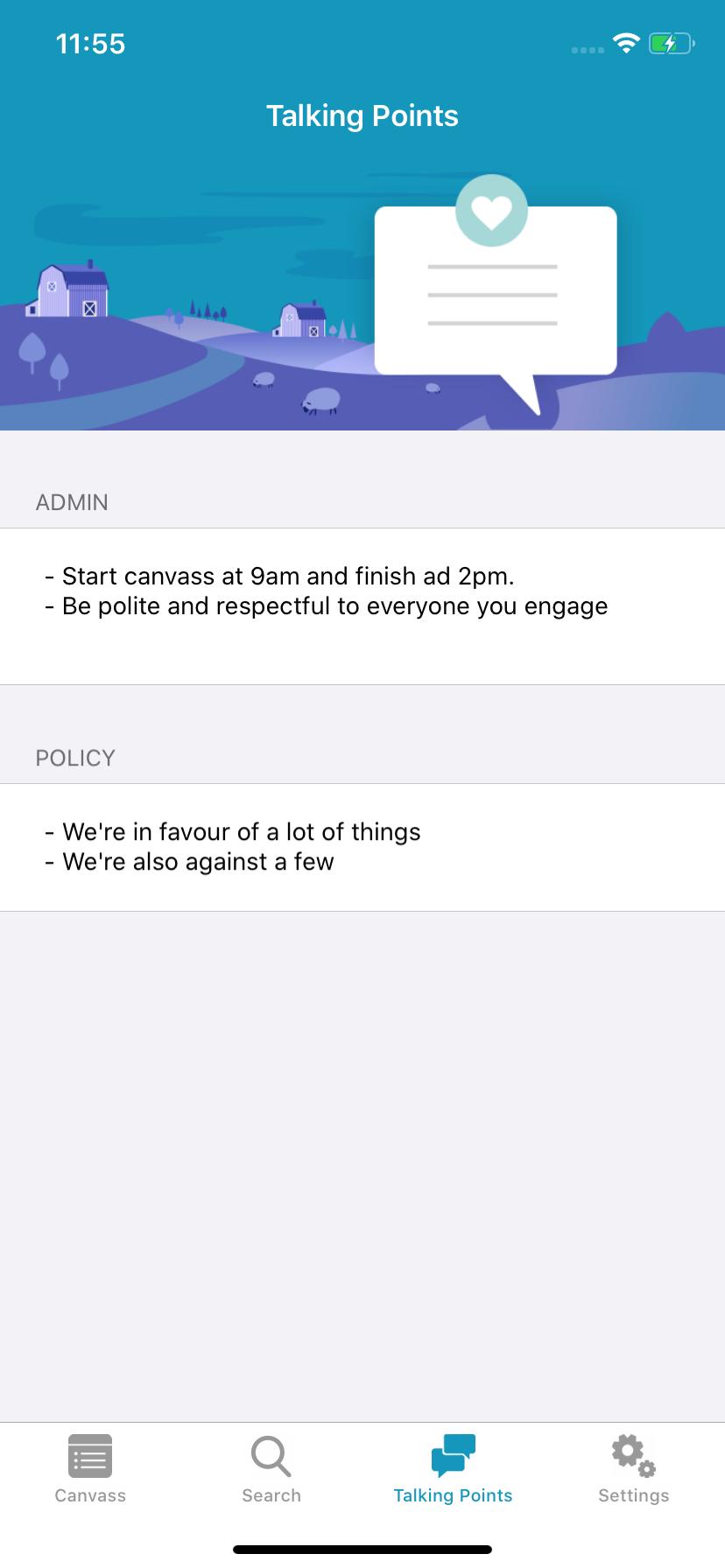 Screenshot of Ecanvasser mobile app, showing settings screen.