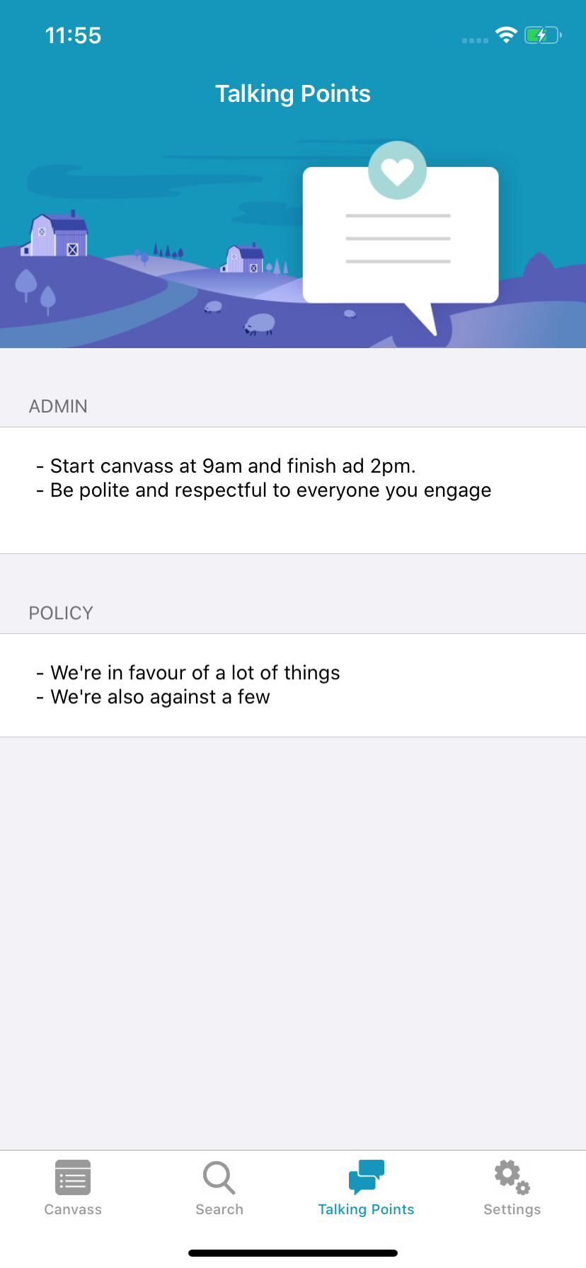 Screenshot of Ecanvasser mobile app, showing settings screen.