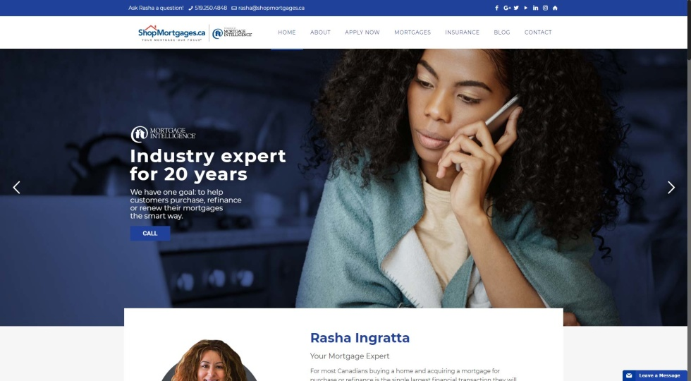 Screenshot of website homepage with image background of woman on phone and CTA on the left in white font. Logo and navigation bar at the top. Navy and white color scheme.