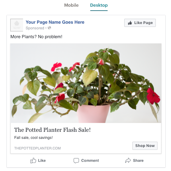 image: Screenshot of a posted Facebook ad, made through Mailchimp