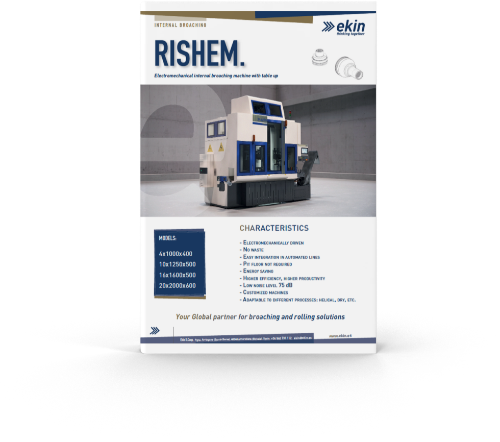 PDF snapshot advertising a new machine. Branding and logo at top of page including the name of the product in larger, bolded, navy blue font against white background. Image of machine sits at center of page. Underneath image, there are bullet points describing the characteristics of the machine in navy blue text against a white background. To the left of the bullet points is a blue text box with white font text inside with different models' measurements. Contact information at the very bottom.