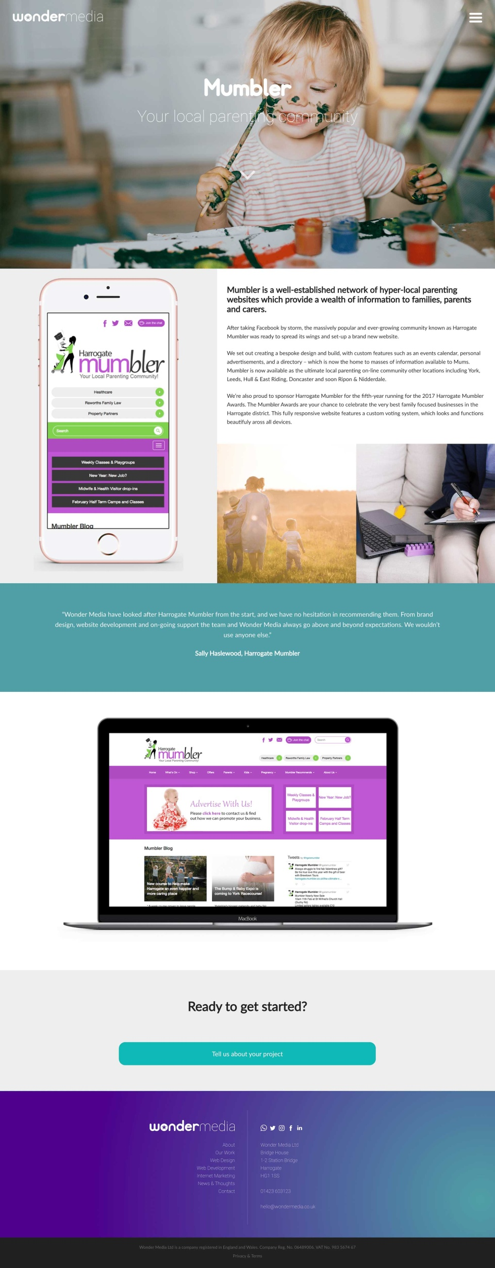 Email template. Page can be split into five parts. At the top, faded image of toddler playing with paint supplies holding a paintbrush with paint all over their face. White logo at the center of the image. Below, iPhone screen displays mobile version of website homepage. To the right of the iPhone, a small paragraph with black lowercase text against a white background. Below the text, two photos side by side (A woman holding two childrens' hands in a field while the sun is setting and a cropped image of someone taking notes from a laptop while sitting on the couch). Below the iPhone and text with accompanying images, a rectangular box across the page with a teal background and a quote in white text that overlays. Below, a Mac desktop with desktop version of website. Below this, green contact button along with more information and branding.