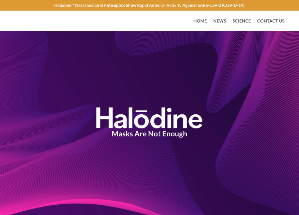 """Image of a webpage with text """"Halodine Masks are not enough"""""""