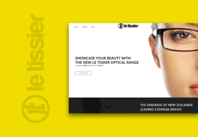 "Image of a women with glasses that says ""Showcase your beauty with the new LE Tessier Optical Range"""