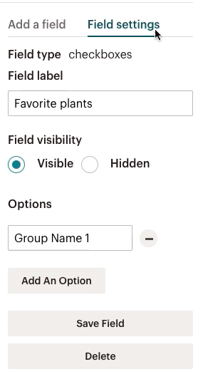 formulaire-field settings (paramètres de champ)-case à cocher