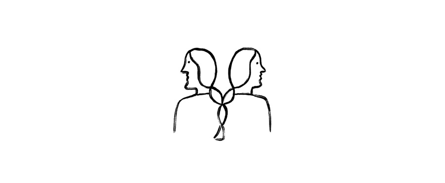 A drawing of two people in profile with their hair braided together.