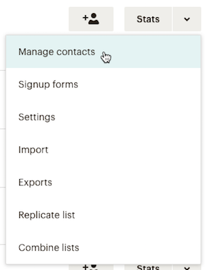 click manage contacts