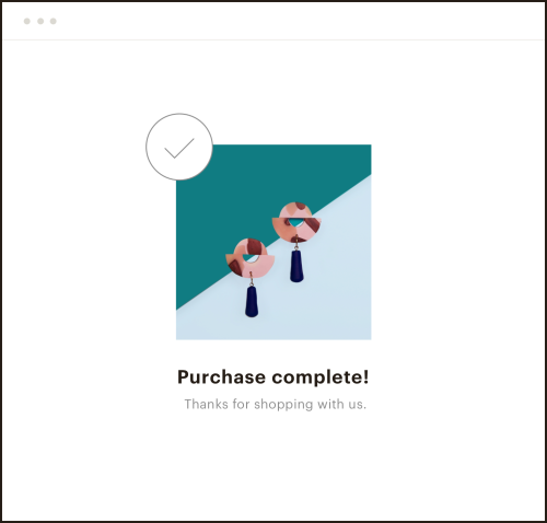 "Image of a browser displaying ""Purchase Complete!"" for handcrafted earrings"
