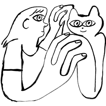 Person and cat holding hands.