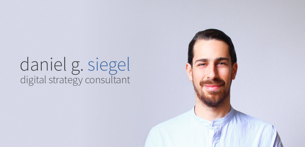 Image of Daniel Siegel with the text daniel g. siegel digital strategy consultant
