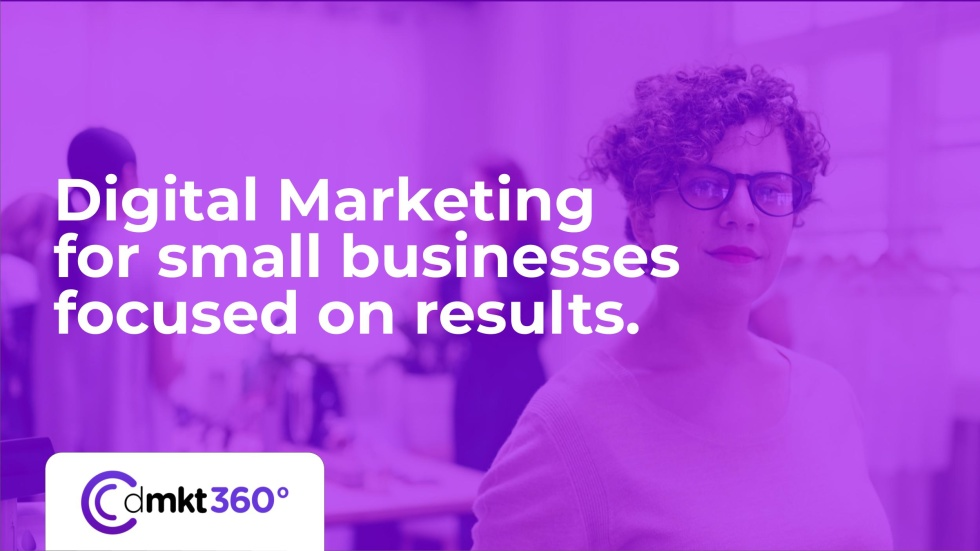 Image of a person in glasses with the text Digital marketing for small businesses focused on results.