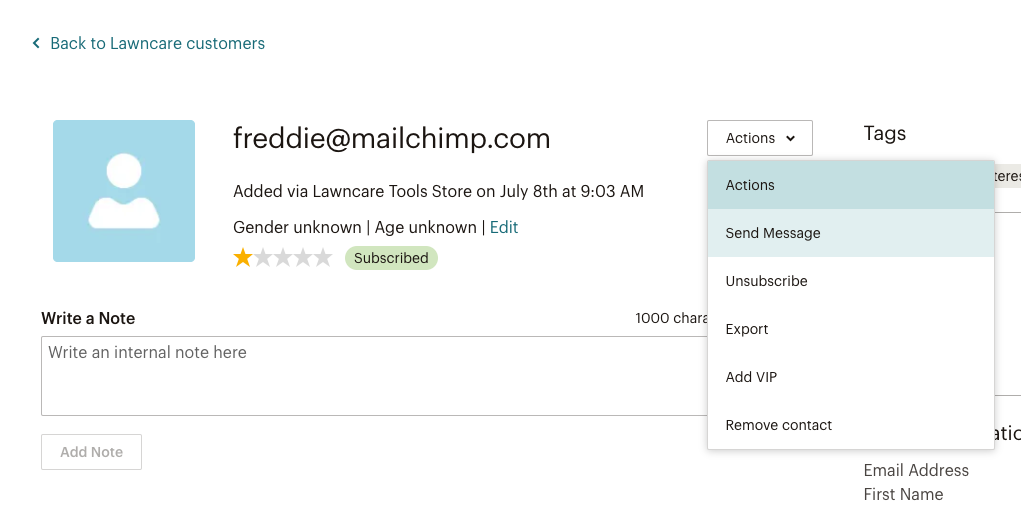 Contact profile actions menu
